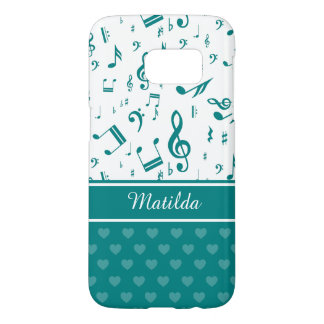 Music Notes and Hearts Pattern Teal and White Samsung Galaxy S7 Case