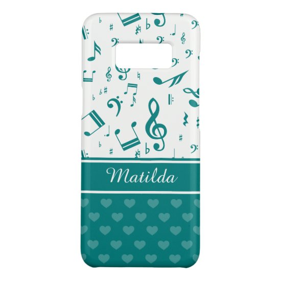 Music Notes and Hearts Pattern Teal Case-Mate Samsung Galaxy S8 Case