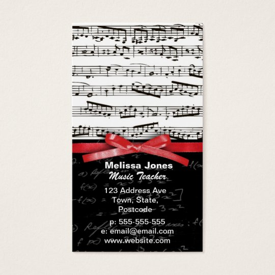 Music notes and math equations business card