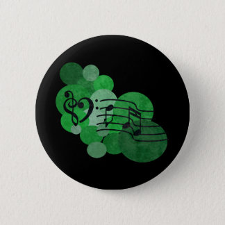 Music notes and polka dots – bright green pinback button