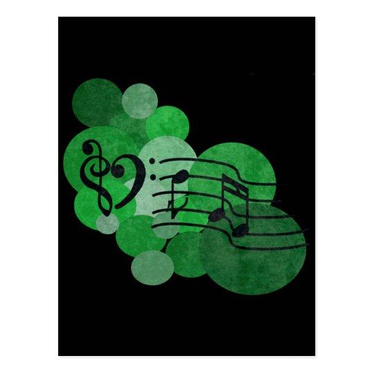 Music notes and polka dots – bright green postcard