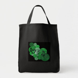 Music notes and polka dots – bright green tote bag