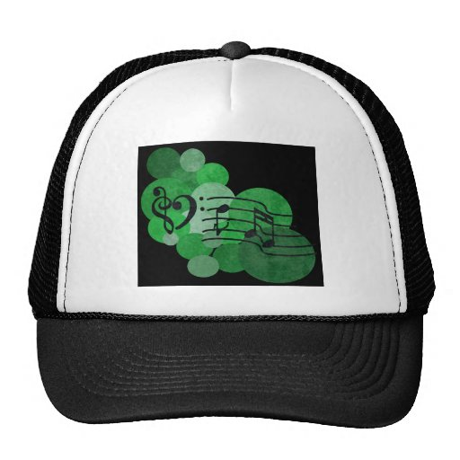 Music notes and polka dots – bright green trucker hat
