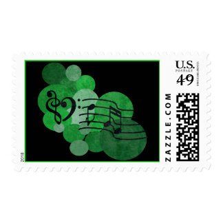 Music notes and polka dots – green stamps