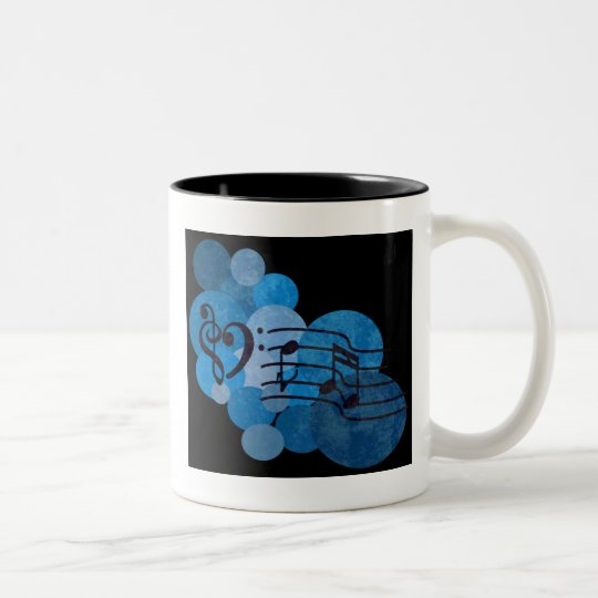 Music notes and polka dots in bright electric blue Two-Tone coffee mug