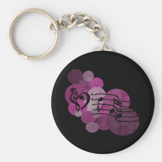 Music notes and polka dots – pink basic round button keychain