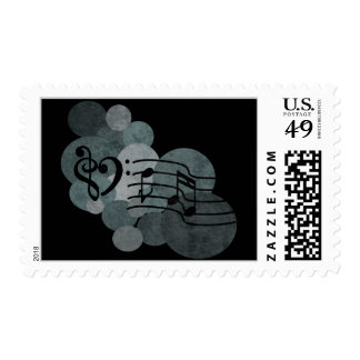 Music notes and polka dots – silver /grey stamps