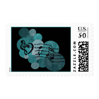 Music notes and polka dots – teal stamps