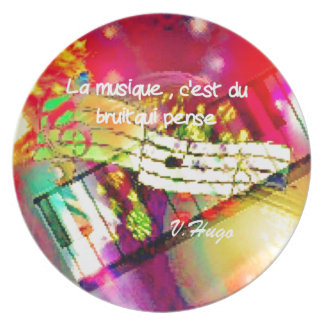 Music notes and quote dinner plate
