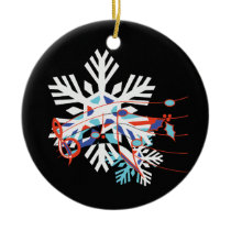 Music Notes and Snow Ceramic Ornament