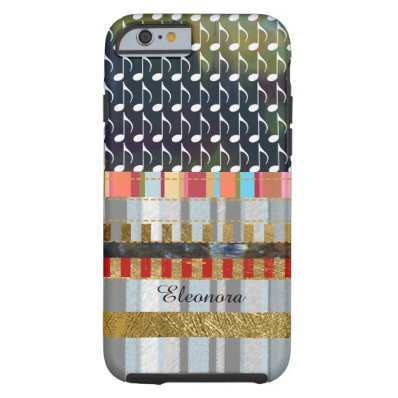 music-notes and stripes pattern cool tough iPhone 6 case
