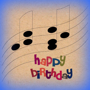 Music Notes And Text Birthday Greeting Card Friend