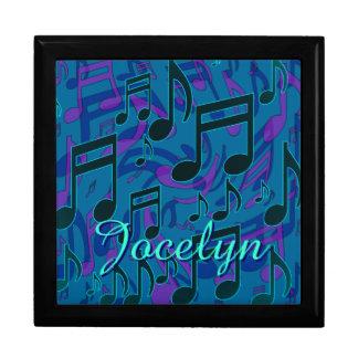 Music Notes Aqua Blue Green Purple Name Jewelry Box