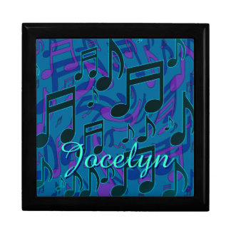 Music Notes Aqua Blue Green Purple Name Keepsake Box