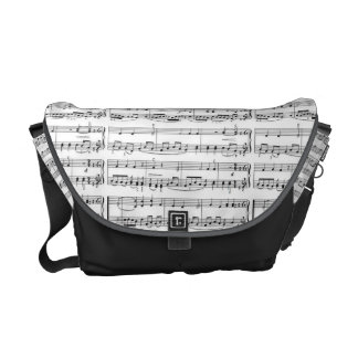 music notes b&w pattern messenger bags
