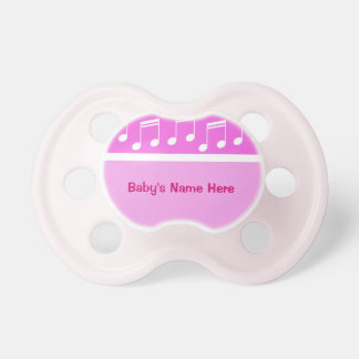 Music Notes Baby Girl Pink Pacifier
