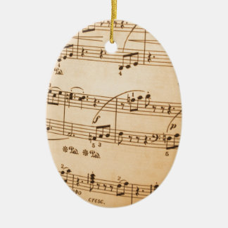 Music Notes Background Ceramic Ornament