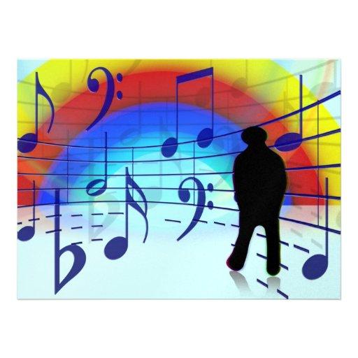 Music notes background custom invites