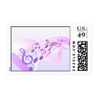 Music Notes Background Postage Stamp