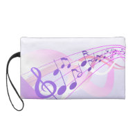 Music Notes Background Wristlet Purse