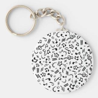 music notes basic round button keychain