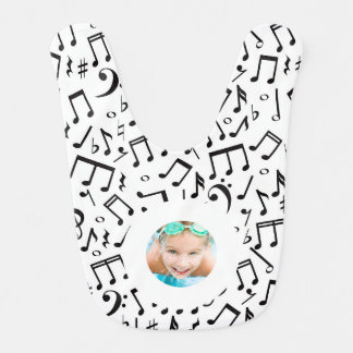 Music Notes Black and White Custom Photo Bib