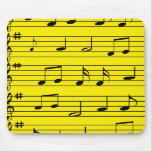 Music Notes - Black on Yellow Mouse Pad
