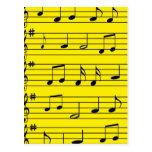 Music Notes - Black on Yellow Postcard