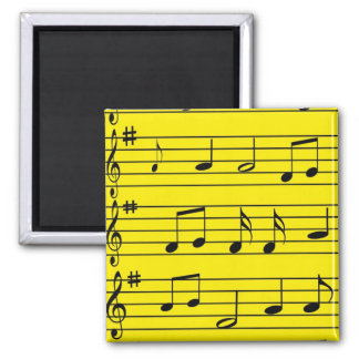 Music Notes - Black on Yellow Refrigerator Magnet
