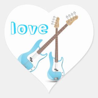 Music Notes Blue Chevrons Zigzags Pattern Destiny Heart Sticker