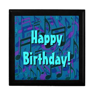 Music Notes Blue Green Pattern Happy Birthday Trinket Box
