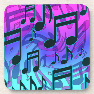 Music Notes Blue Green Purple Lively Pattern Coaster