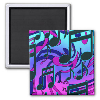 Music Notes Blue Purple Aqua Lively Pattern 2 Inch Square Magnet