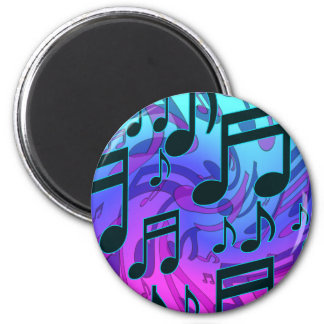 Music Notes Blue Purple Aqua Pattern 2 Inch Round Magnet