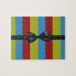 Music Notes Bow & Ribbon Colorful Stripes Jigsaw Puzzle