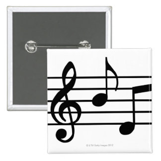 Music Notes 2 Inch Square Button