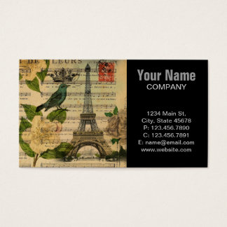 music notes camellia french paris eiffel tower business card
