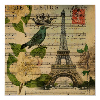 music notes camellia french paris eiffel tower poster