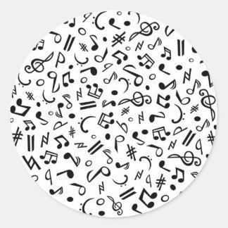 music notes classic round sticker