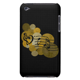 Music notes clef heart + polka dots gold ipod case