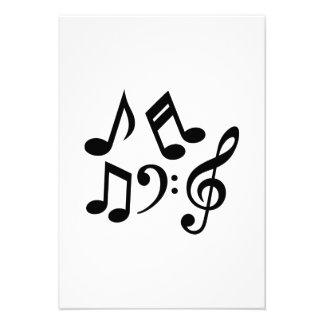 Music notes clef invites