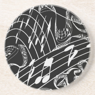 MUSIC NOTES COASTERS-BLACK DRINK COASTER
