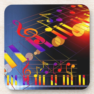 Music notes colorful illustration beverage coasters