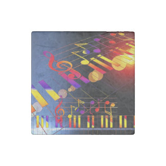 Music notes colorful illustration stone magnet