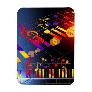 Music notes colorful illustration rectangular magnet