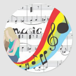 Music notes colors classic round sticker