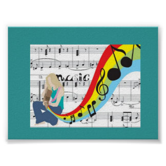 Music notes colors poster