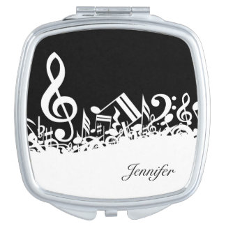 Music Notes Compact with Custom Name Makeup Mirror