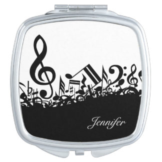 Music Notes Compact with Custom Name Mirrors For Makeup