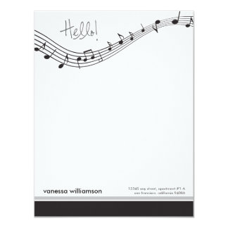 Music Notes Custom Flat Note Cards (black)